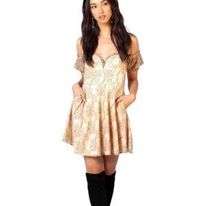 NWT EGGIE UO Lace Floral Tessa Mini Dress Gold